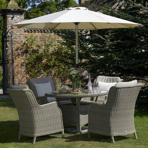 Oakridge 4 Seater Dining Set With Parasol Dcor Design Garden Dining Set Garden Furniture Outdoor Furniture Sets