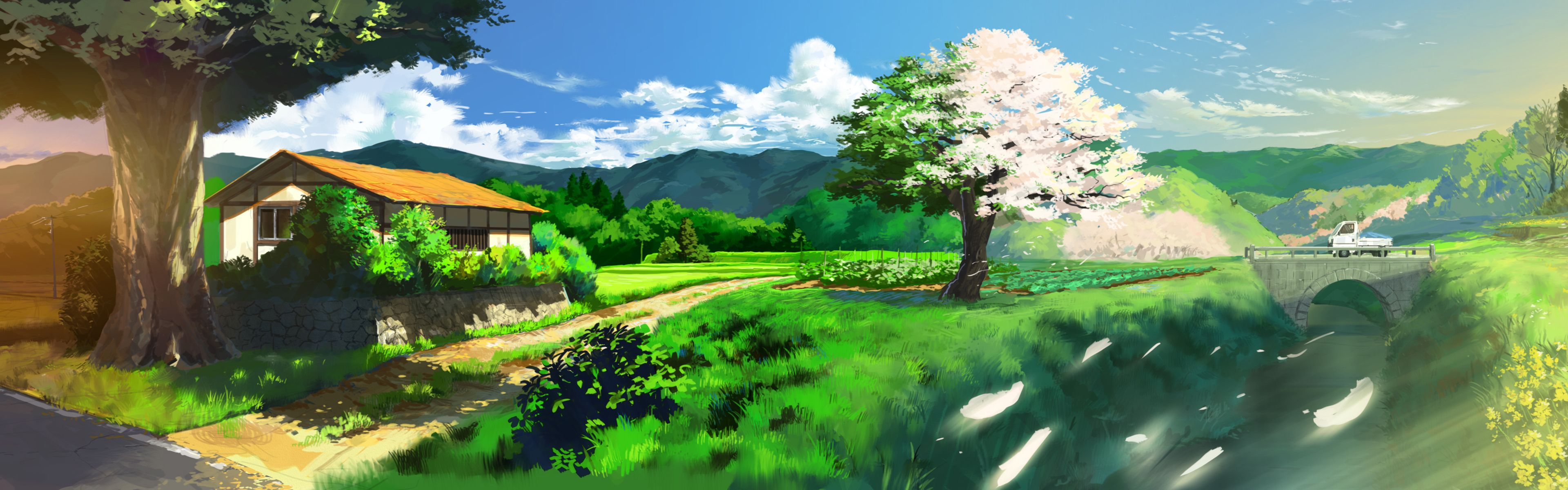 Nature Anime Scenery Background Wallpaper | Resources ...
