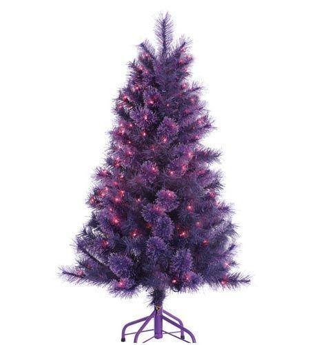 "4 Foot Pre-lit ""Winter Twilight"" Purple Christmas Tree with Purple Lights"