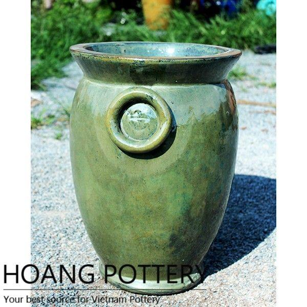 Beautiful Antique Aqua Green Glazed Ceramic Outdoor Pot