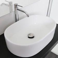 Lavabo bagno da appoggio a bacinella design moderno ceramica bianco ...