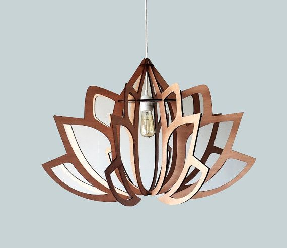 lotus 2 bois suspension d coup au laser lustre lampe fait. Black Bedroom Furniture Sets. Home Design Ideas