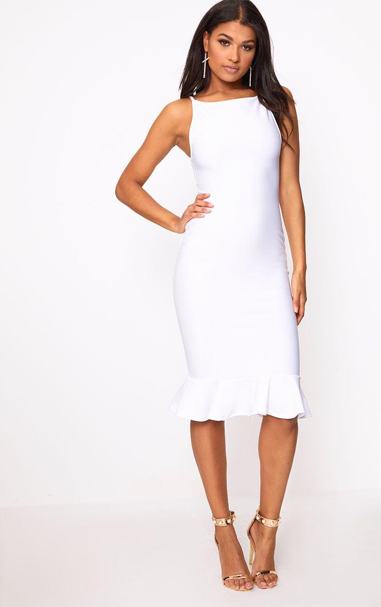 Freada White Square Neck Frill Hem Midi Dress | Patrones de costura ...