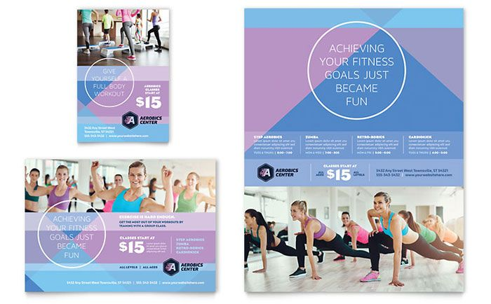 Aerobics Center Flyer and Ad Template Design by StockLayouts