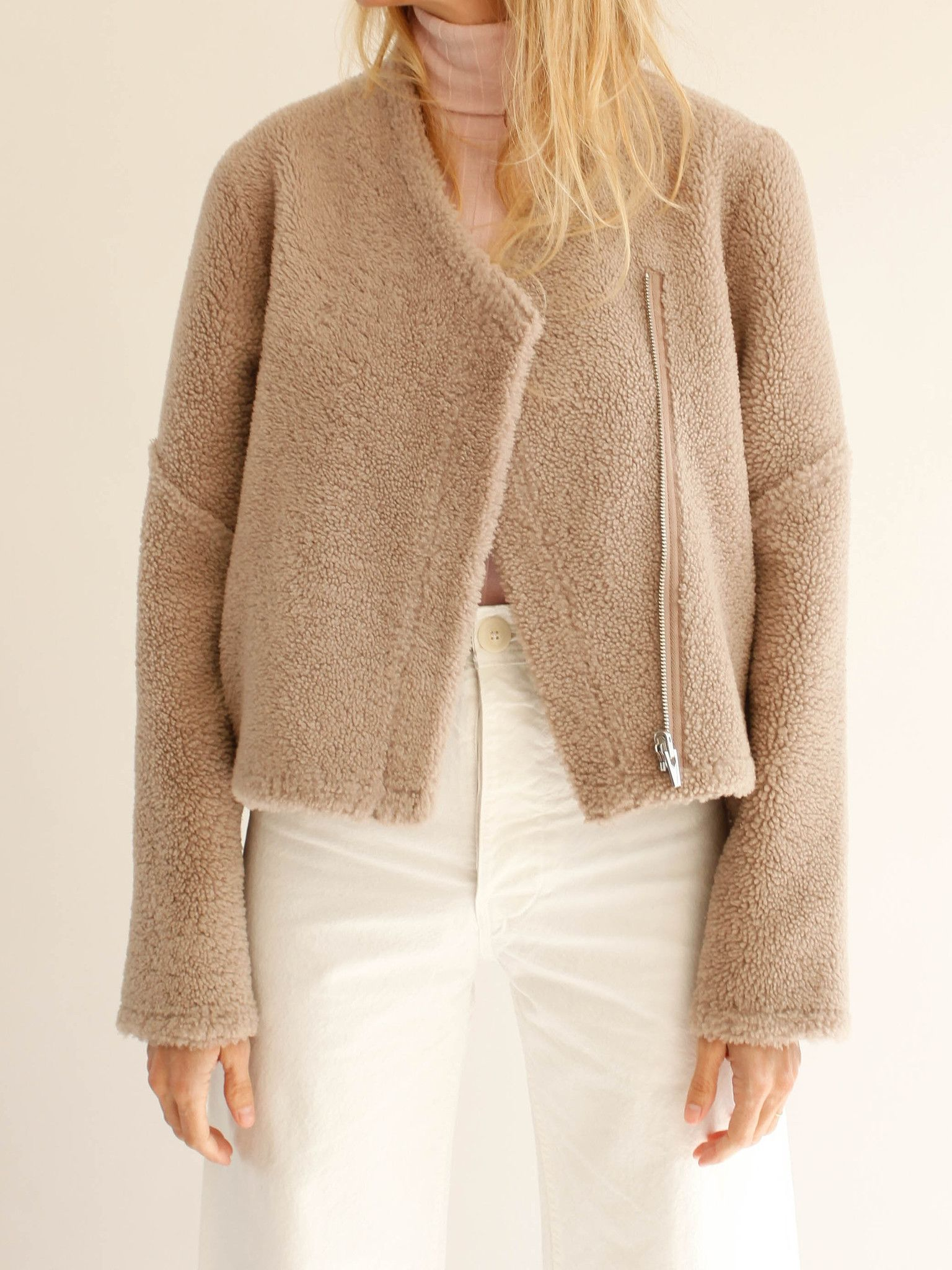 Reversible cropped shearling jacket Short curly merino fur on one ...