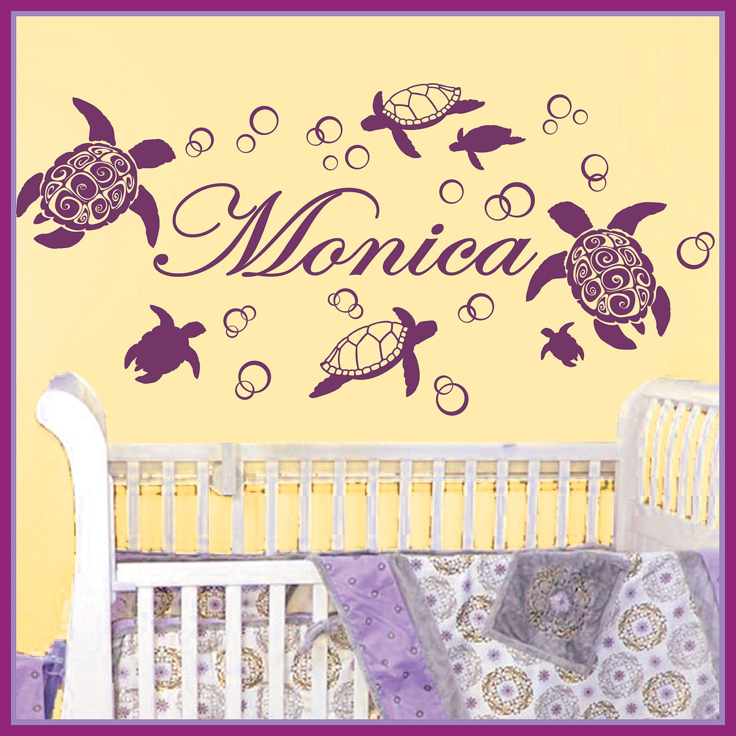 Personalized Name TURTLES & Water Bubbles Vinyl Wall Decals Art ...