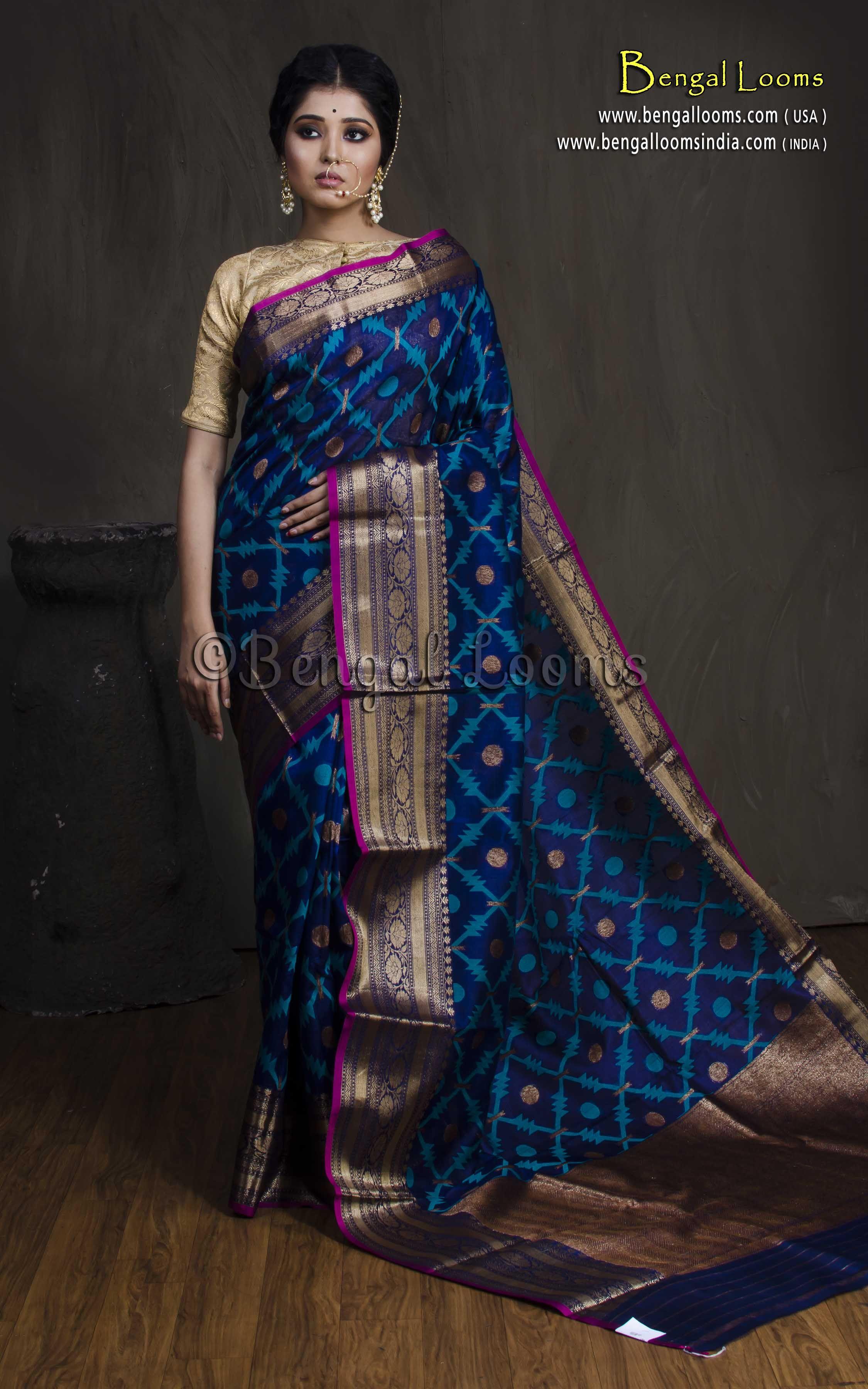 8dfb4b15f105d Jaal Work Tussar Banarasi Saree in Royal Blue and Antique Gold ...