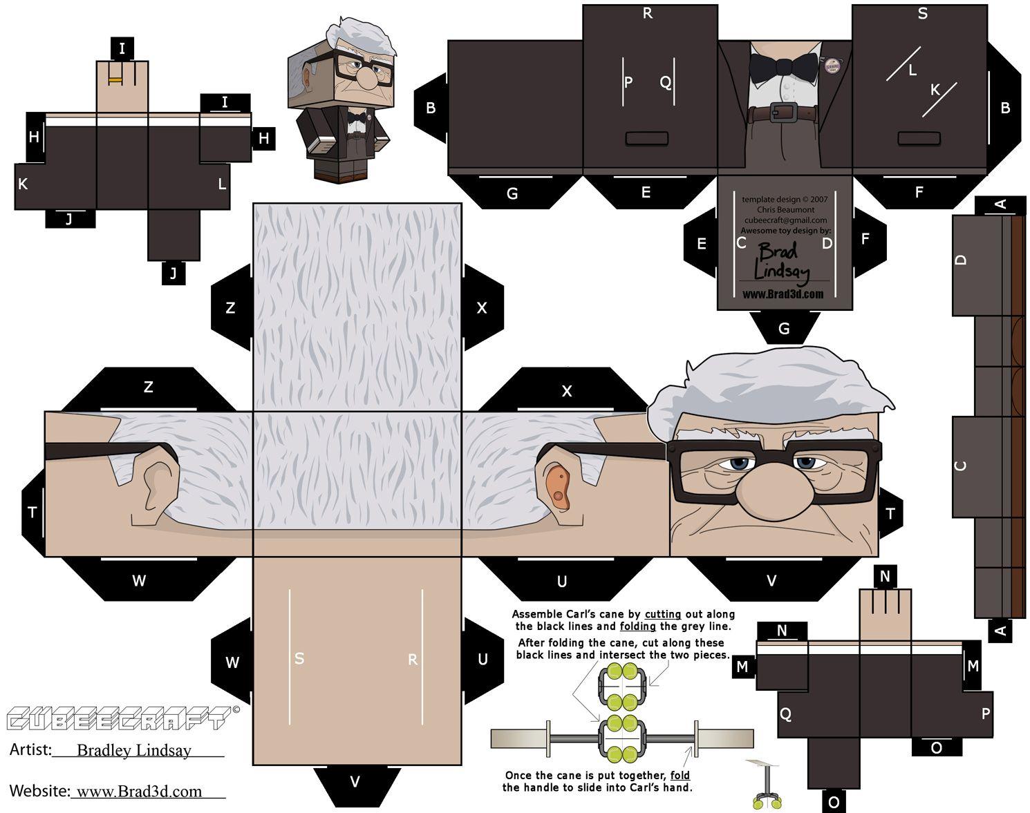 Carl Fredricksen Cubeecraft | Brinquedos de papel, Papel em 3d ...