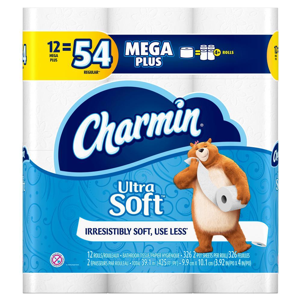 Charmin Ultra Strong Toilet Paper 12 Mega Plus Rolls Case Of 4 003700076870 The Home Depot Charmin Bath Tissue Toilet Paper