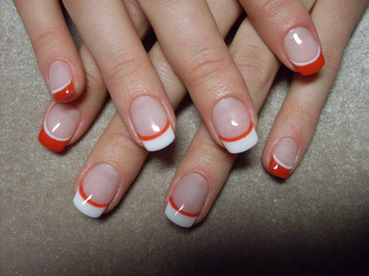 Colored french nail design - Acrylic Nail Art French Manicure Different Colors In Gallery
