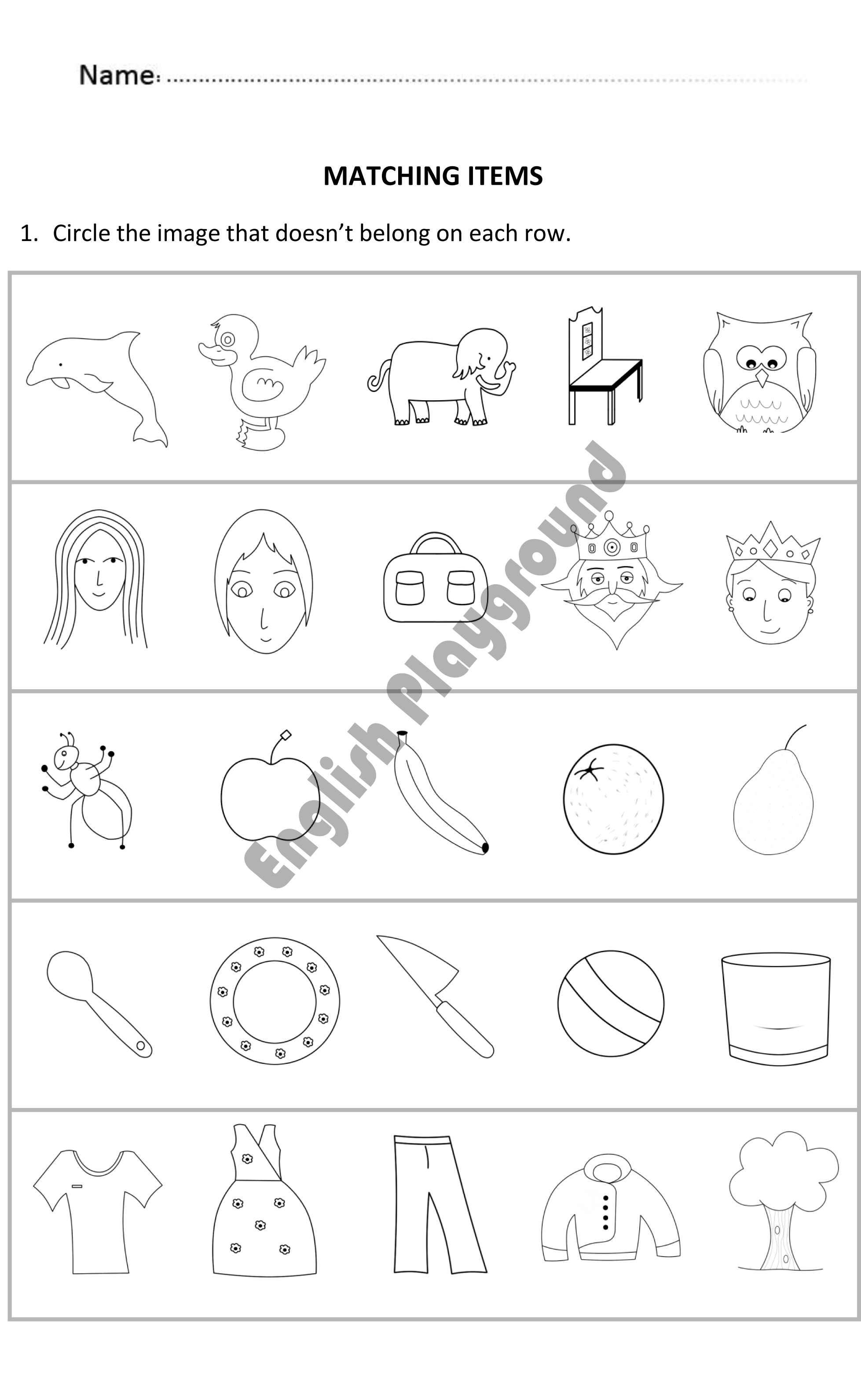 Matching Items for Reception and Year 1 Students   English for 5 to ...