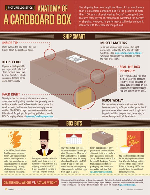 supply chain infographic anatomy of a cardboard box - logistician resume