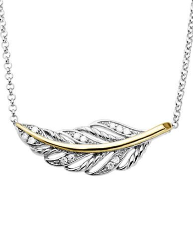 Lord & Taylor Diamond Accented Feather Necklace in Sterling Silver wit