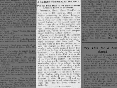 The Kansas City Times 20 Mar 1909 Pittsfield, MA SHAKERS at Mt Lebanon