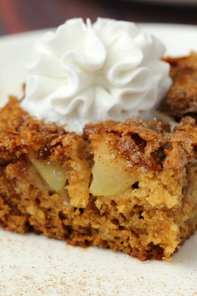 Light and fluffy vegan apple cake with a cinnamon sugar