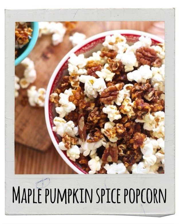 Maple Pumpkin Spice Popcorn// fall recipes// for more fall flavors check out www.plated.com/menu