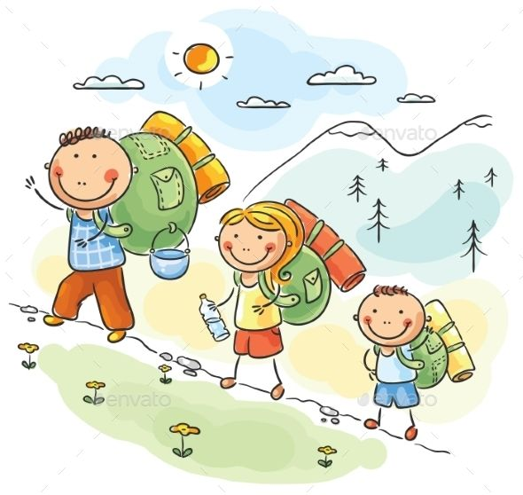 Family hiking in the Mountains | Family cartoon, Drawing for kids, Hiking  pictures