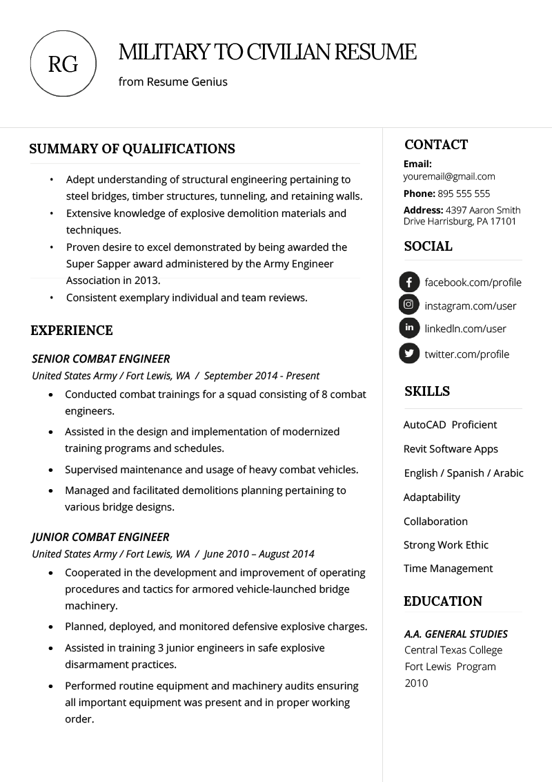 The ability to build, print, and download your resume for free in minutes. Military To Civilian Resume Example Template Rg Desain Cv Riwayat Hidup Profesi
