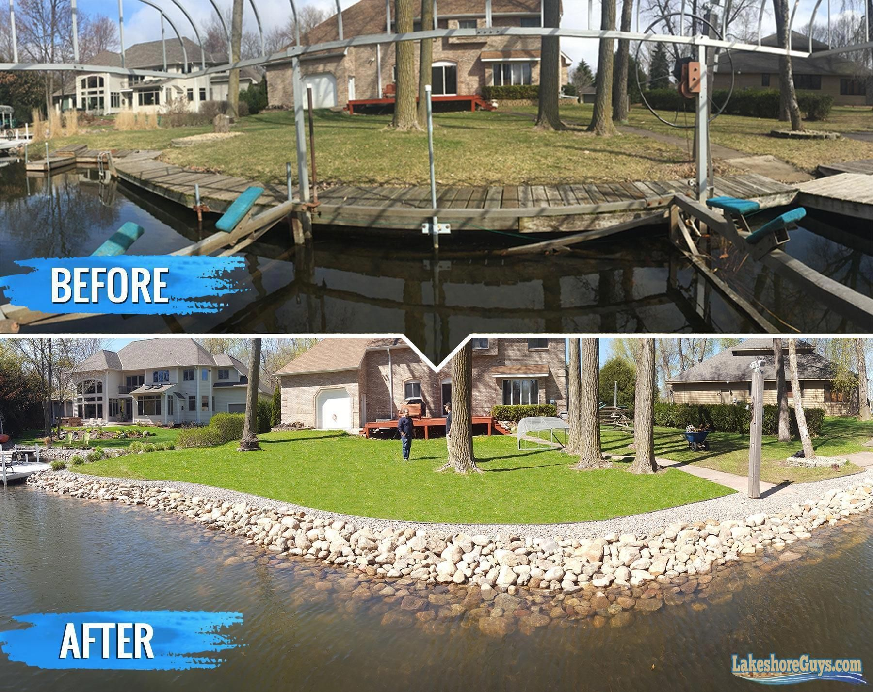 Our Work Here Is A Just A Sampling Of The Lakeshore Guys Recent Work In Building Riprap Shorelines That Stave Off Erosion Lake Landscaping Lake House Backyard