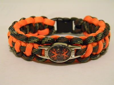 550 Paracord Bracelet Cobra Camo Pattern N Orange Under Armour Hunting Charm Ebay