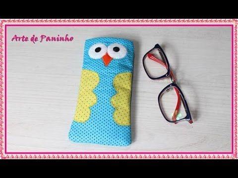 3e4e42737 Como fazer uma Bolsinha porta Óculos de tecido com formato de coruja ...