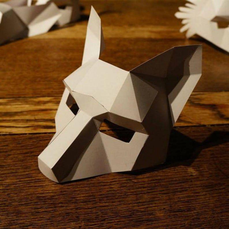 Half Fox Papercraft Mask Template Etsy Fox Mask Wolf Mask Wintercroft Mask