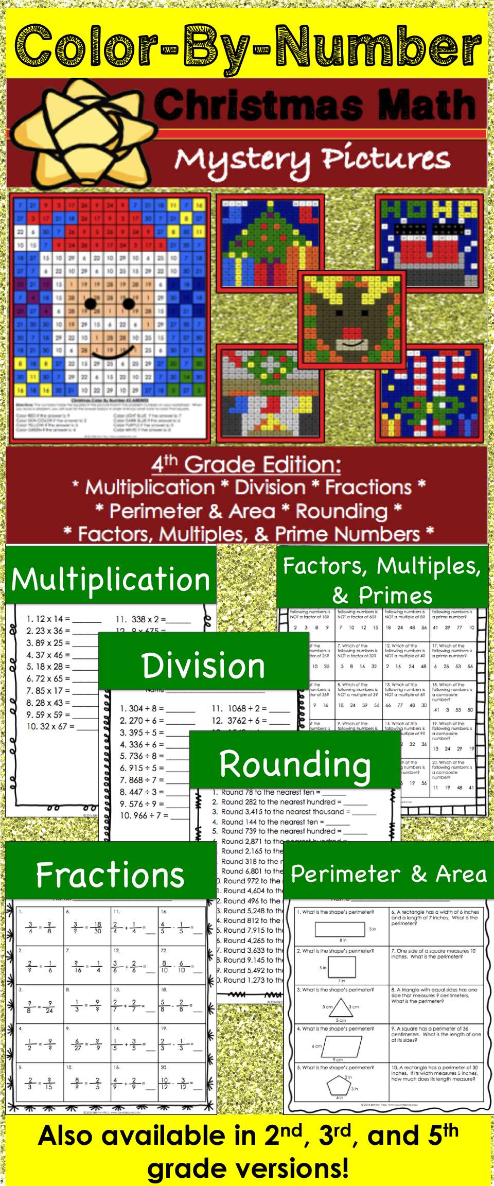 4th Grade Christmas Activities: 4th Grade Christmas Math (Color-by ...