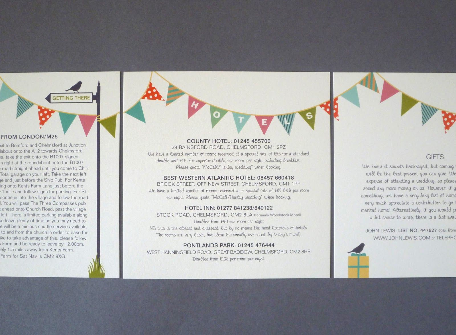 Cotton Post wedding invitation bunting design vintage feel ...