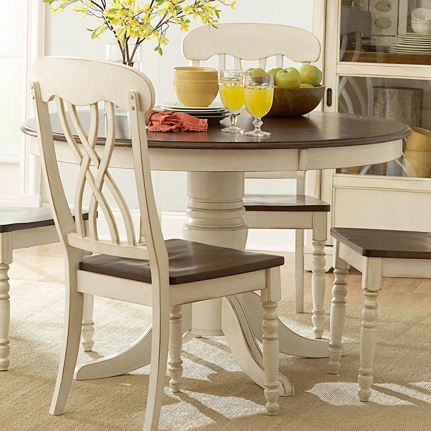 Ohana Round Dining Table In Antique White Is A Part Of 1393 Series From  Homelegance