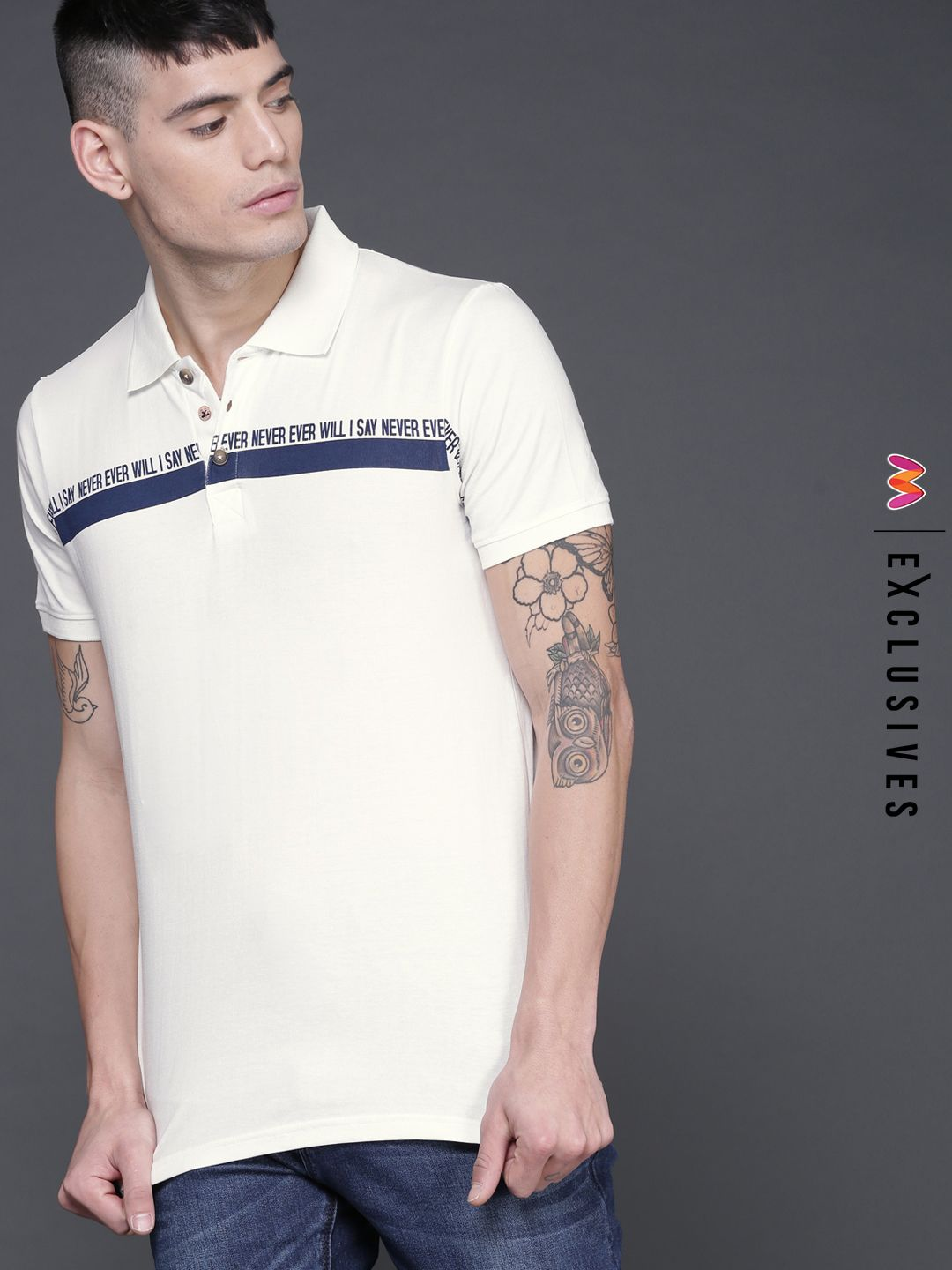 15ad10f452 WROGN Men Off-White Printed Slim Fit Polo Collar T-shirt - | 519 ...