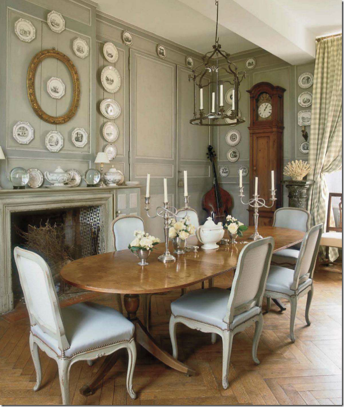 Louis chairs make great dining room chairs.  In a French house, antique Louis XV chairs in light blue with nailheads.  Beautiful.
