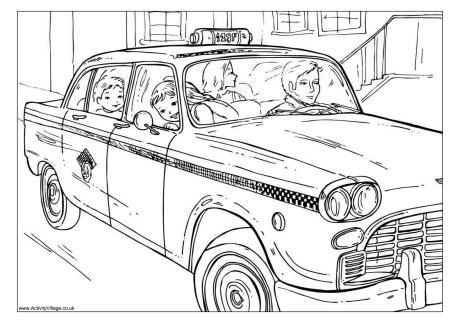 New York Cab Colouring Page Colouring Pages New York Taxi Coloring Pages