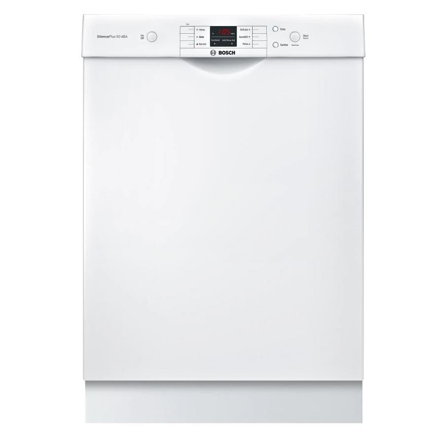 Bosch 100 Series Puredry 50 Decibel Front Control 24 In Built In Dishwasher White Energy Star Lowes Com Built In Dishwasher Steel Tub Dishwasher White