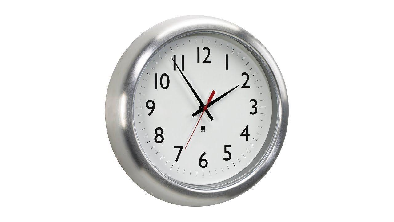 Station Aluminum 14 Round Wall Clock 14j62 Lamps Plus Wall Clock Aluminum Wall Modern Clock
