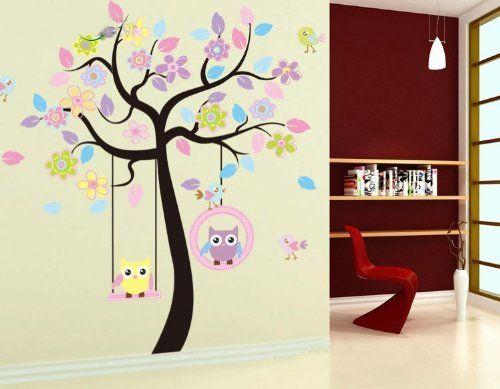 wallstickersdecal elefanten giraffen l wen affen eule spielen auf baum wandtattoo. Black Bedroom Furniture Sets. Home Design Ideas