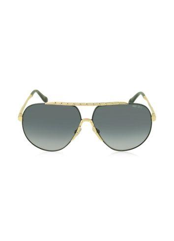 9e257480b1d Jimmy Choo BENNY S FHGHD Black Metal Aviator Women s Sunglasses ...