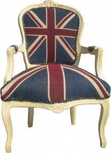 Casa Padrino Barock Salon Stuhl Union Jack Design Creme Salon Stuhle Stuhle Barock