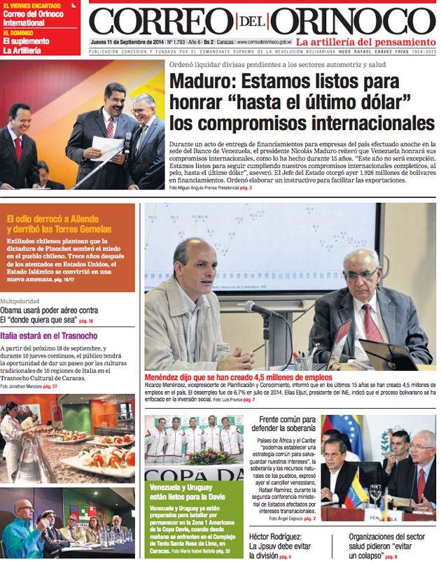 #Portadas #Nacionales #PrimeraPagina #Titulares #Noticias #DesayunoInformativo @CorreoOrinoco