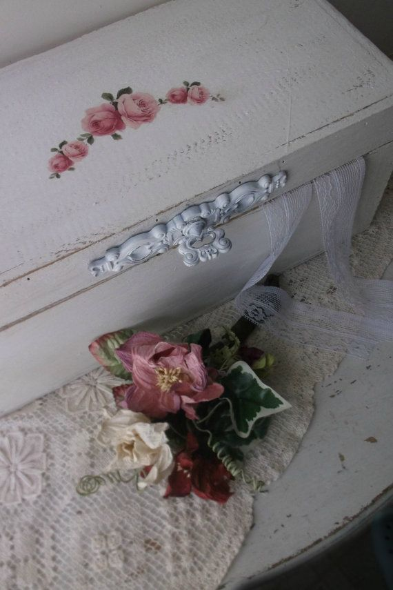 Shabby Chic White Box w decoupage roses. Wedding Keepsake Memory Chest. Wedding Money Card Box. French Chic Stationary Letter  Storage