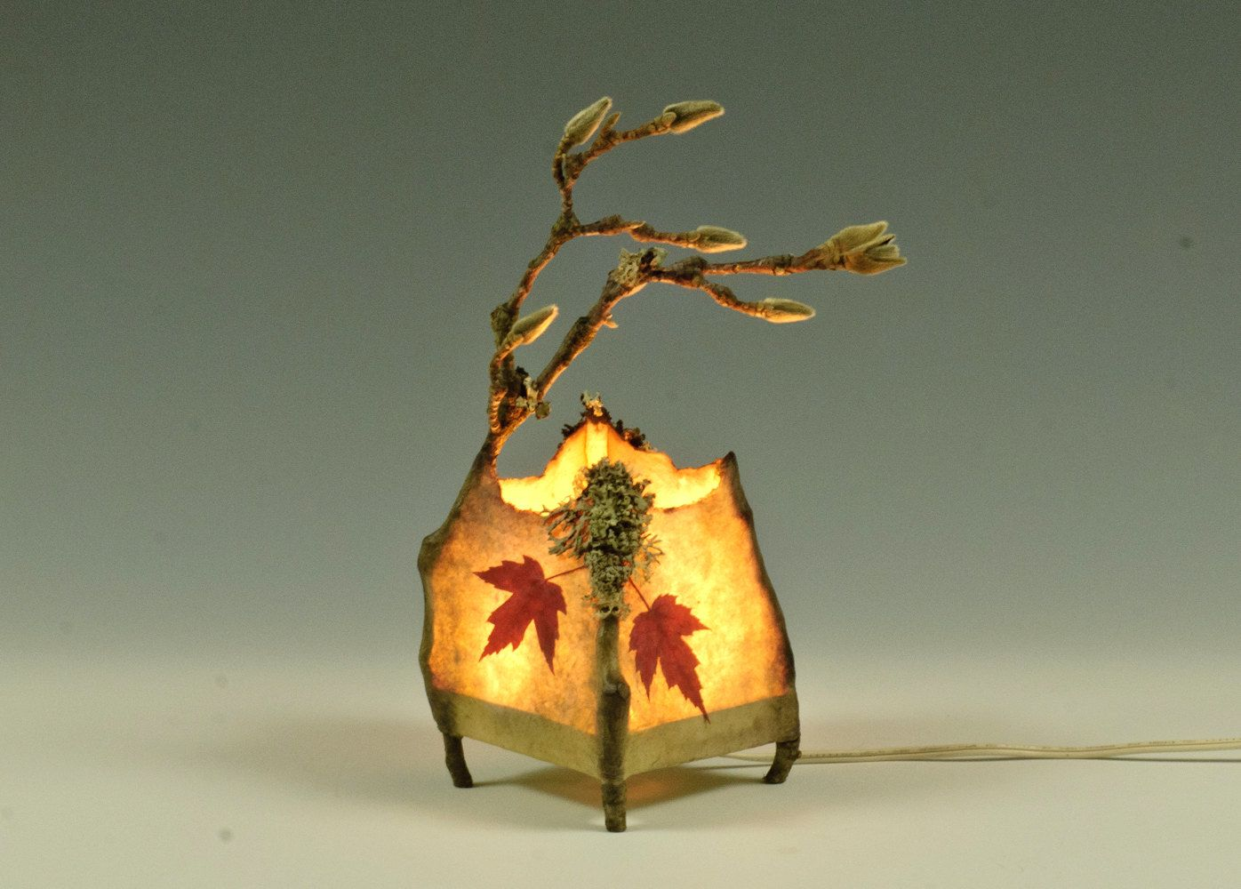 Twig Lamp handmade paper leaves | sherwood handmade paper and twig lamp