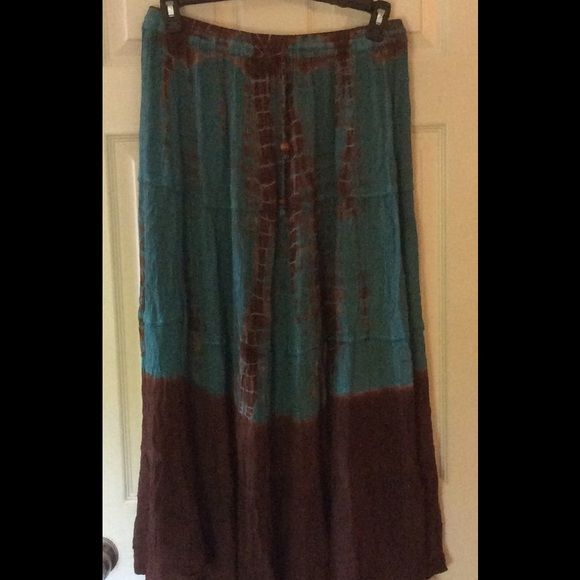 FLASH SALE!Turquoise & Chocolate Boho Skirt 25 Tie Dyed effect with drawstring elastic waist Skirts Maxi