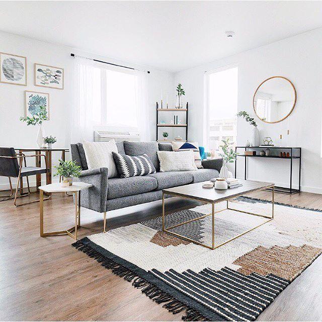 Interior Style Living Room Decor Living Room Ideas Grey Couch Neutral Rug Wohnzimmer Modern Dekoration Wohnzimmer Wohnzimmerdesign