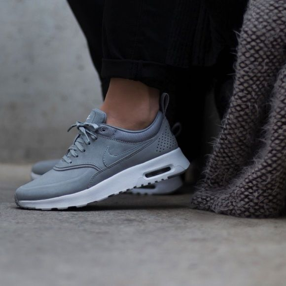 Nike Air Max Thea Grey Premium Leather Sneakers Grey Tennis Shoes Nike Air Max Nike Lifestyle Shoes
