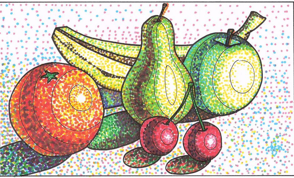 Elementos Basicos De Expresion Plastica Puntillismo Facil Puntillismo Tecnica Arte Con Manzana