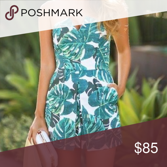7c6f9217800 Top Shop Palm Print Romper A graceful notch in the strapless neckline  accents the angular front pleats of this crisp