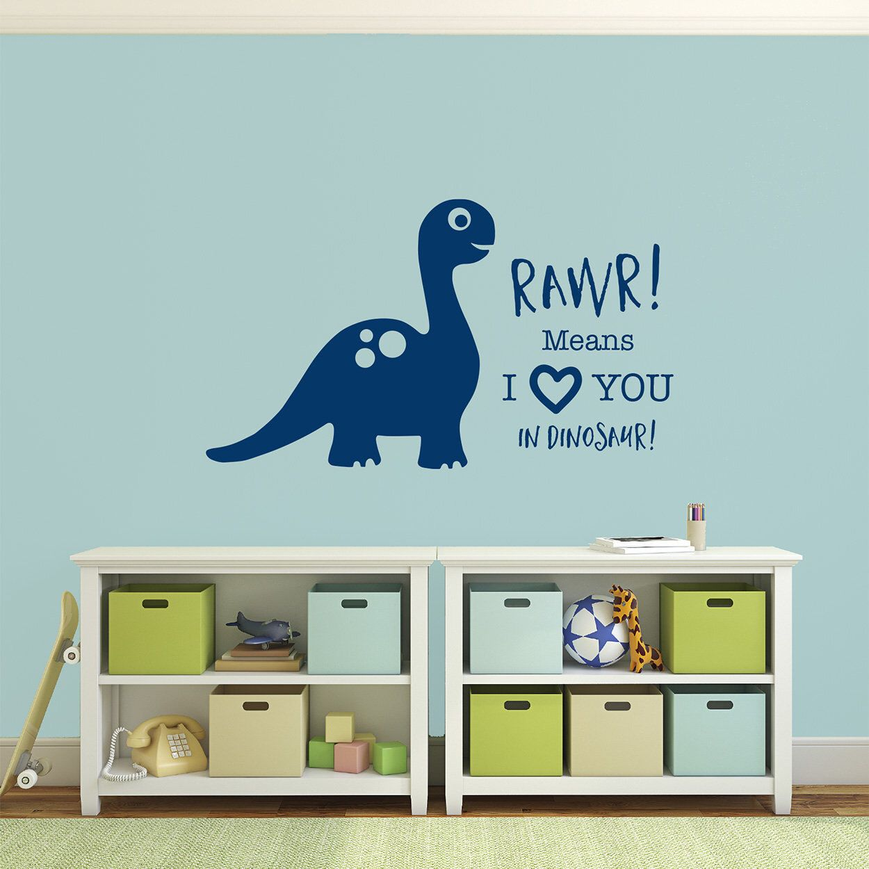 means I love You in Dinosaur wall art vinyl decal sticker Rawr children/'s