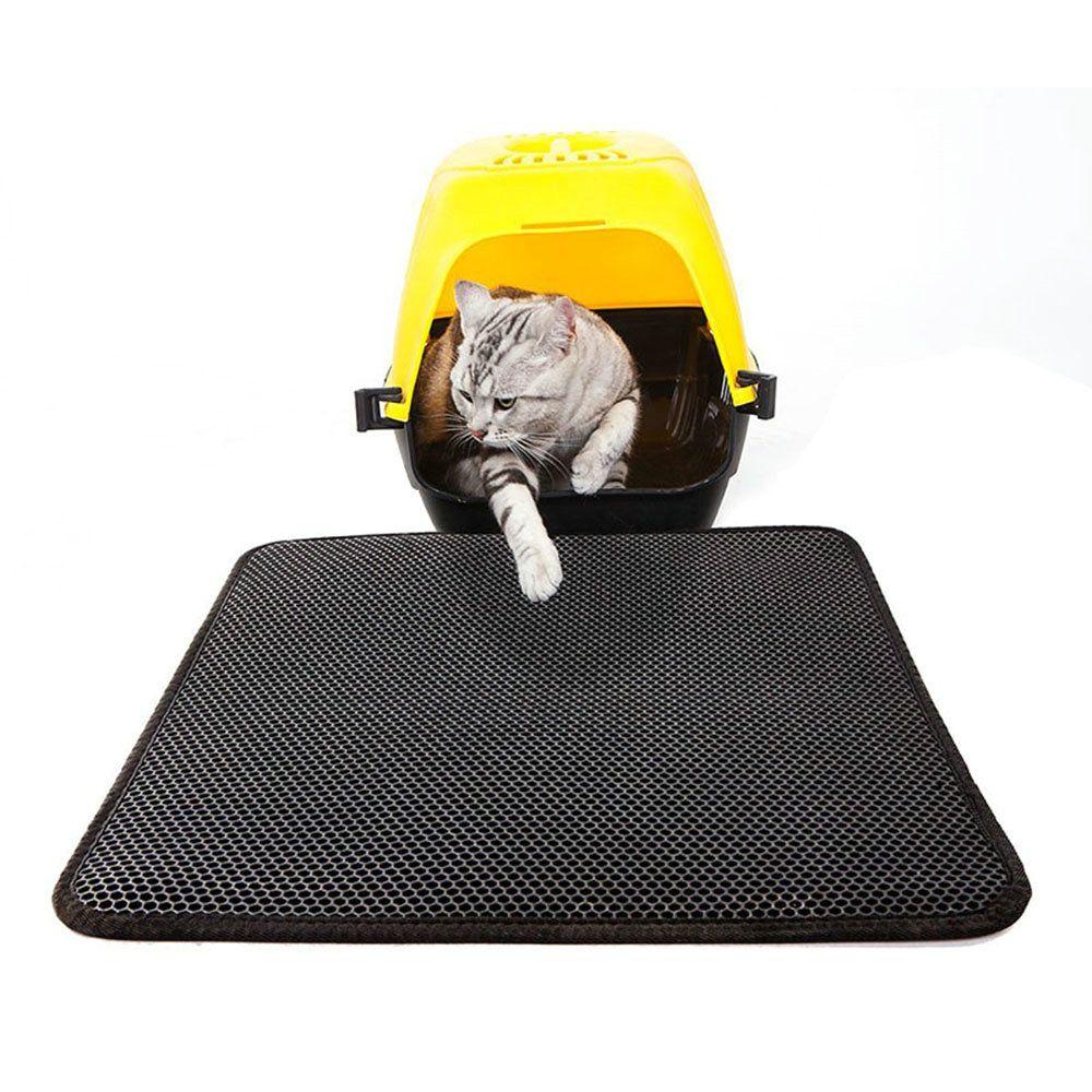 Katzenstreu Matte Katzentoilette Vorleger in Schwarz Cat