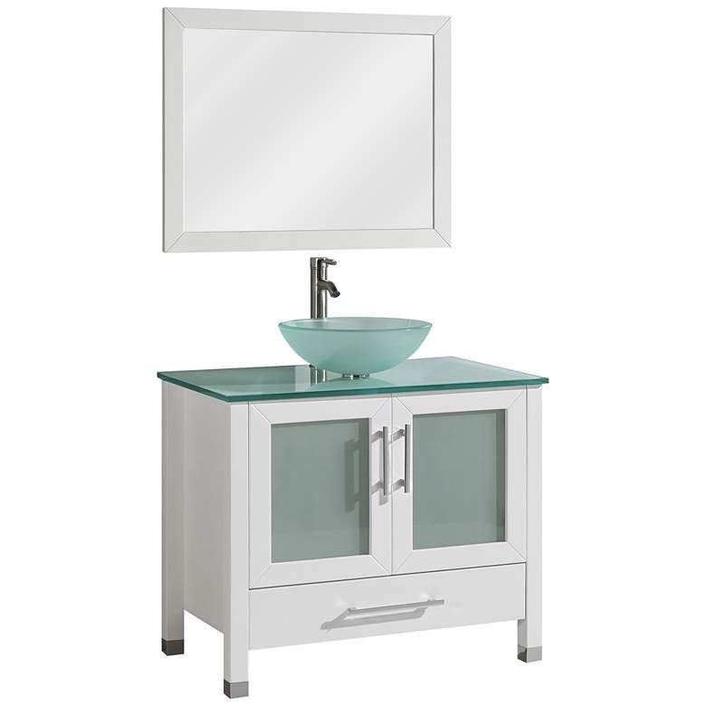 "Cuba 36"" White Single-Sink Bathroom Vanity and Mirror Set ..."