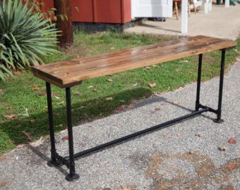 6 Solid Wood Sofa Table with Industrial Base Metal Pipe Legs