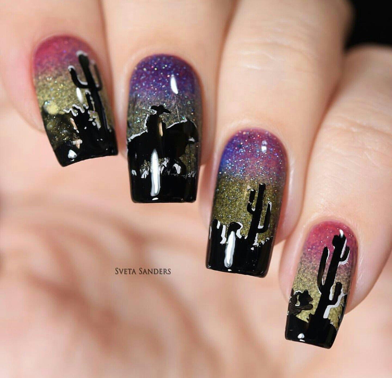 Western nail art, cowboy / horse, cactus - Western Nail Art, Cowboy / Horse, Cactus A SPRING/SUMMER Nail Art